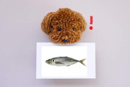 魚の絵をくわえる犬
