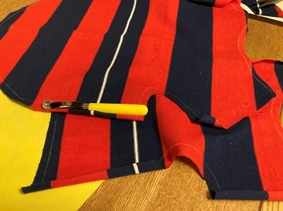 縫い代が付いた状態の生地