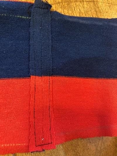 首部分の縫い代を四角く縫う