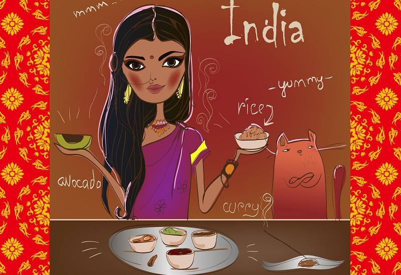 インド人女性と猫